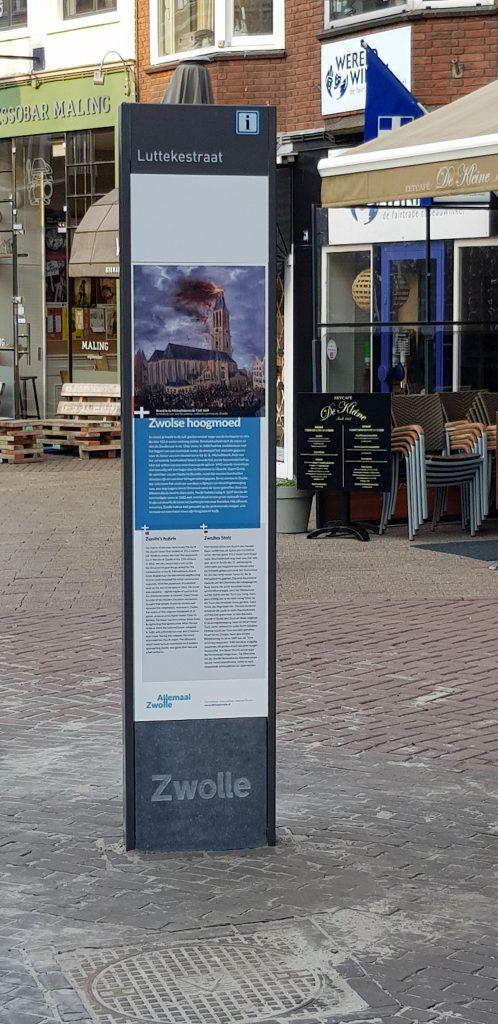 Informatiezuil Luttekestraat, achterzijde historische verhalen