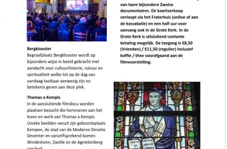 Flyer filmavond Fraterhuis in Grote Kerk